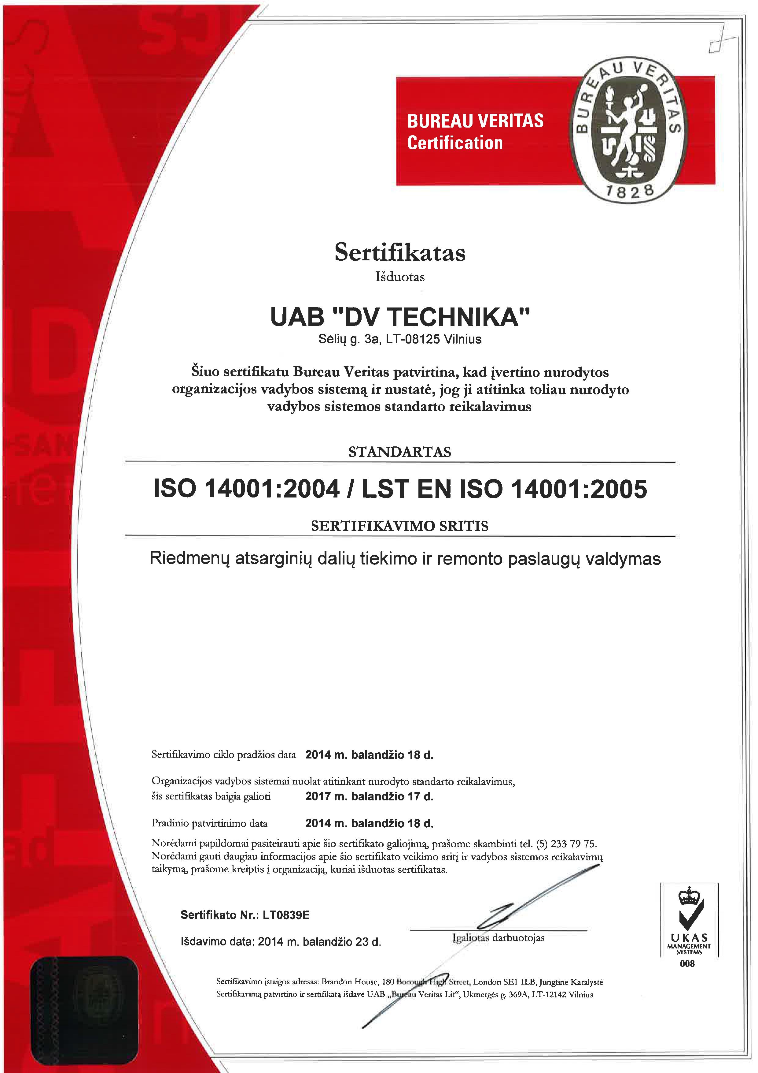 ISO 14001 2004 LST EN ISO 14001 2005 SERTIFIKATAS