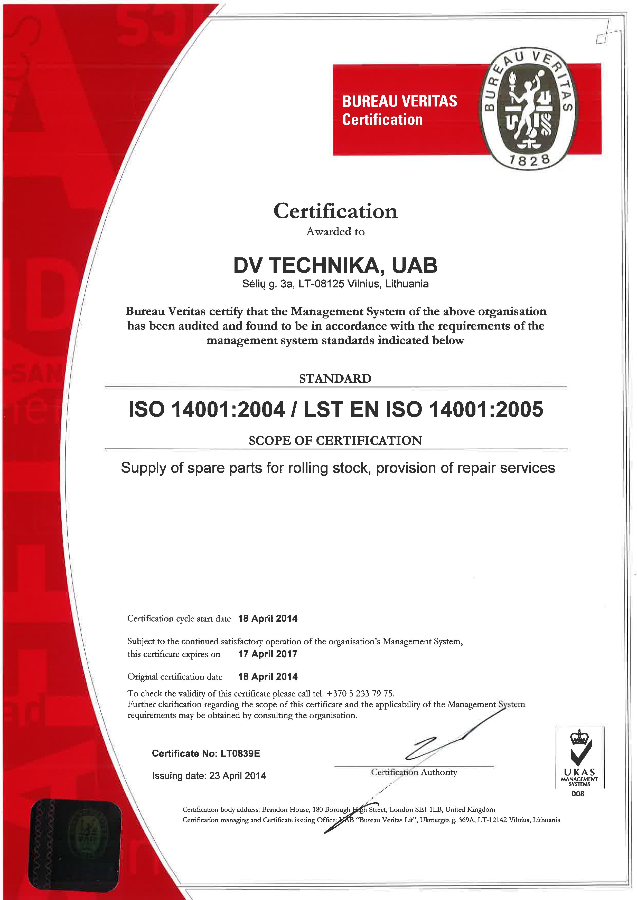 ISO 14001 2004 LST EN ISO 14001 2005 sertification
