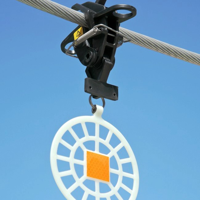 Installation of bird flight guides with the help of robotic equipment